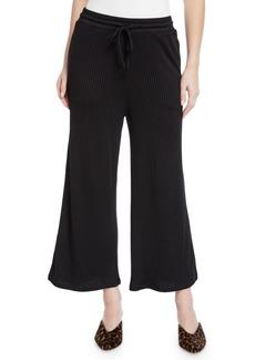 Kensie Drapey Wide-Leg Ribbed Cropped Pants