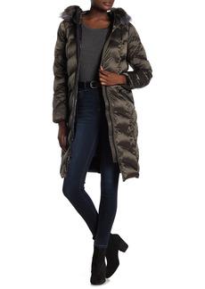 Kensie Faux Fur Lined Hoodie Quilted Coat