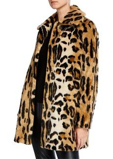 Kensie Faux-Fur Snap-Front Leopard Coat