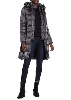 Kensie Faux Fur Trim Hoodie Quilted Coat