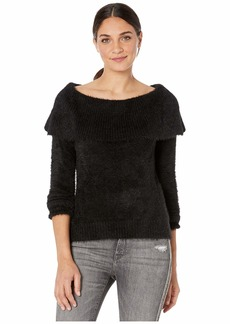 Kensie Faux Fur Yarn Cowl Neck Sweater KSNK5991