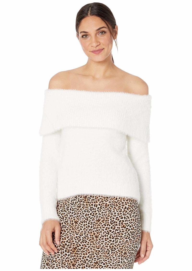 Kensie Faux Fur Yarn Cowl Neck Sweater KSNK5991