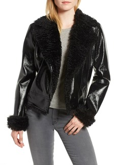 Kensie Faux Patent Leather with Faux Shearling Trim Moto Jacket
