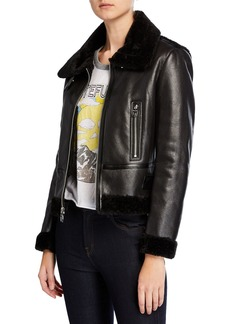Kensie Faux-Shearling Buckle Moto Jacket
