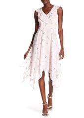 Kensie Floral Print Sharkbite Hem Dress