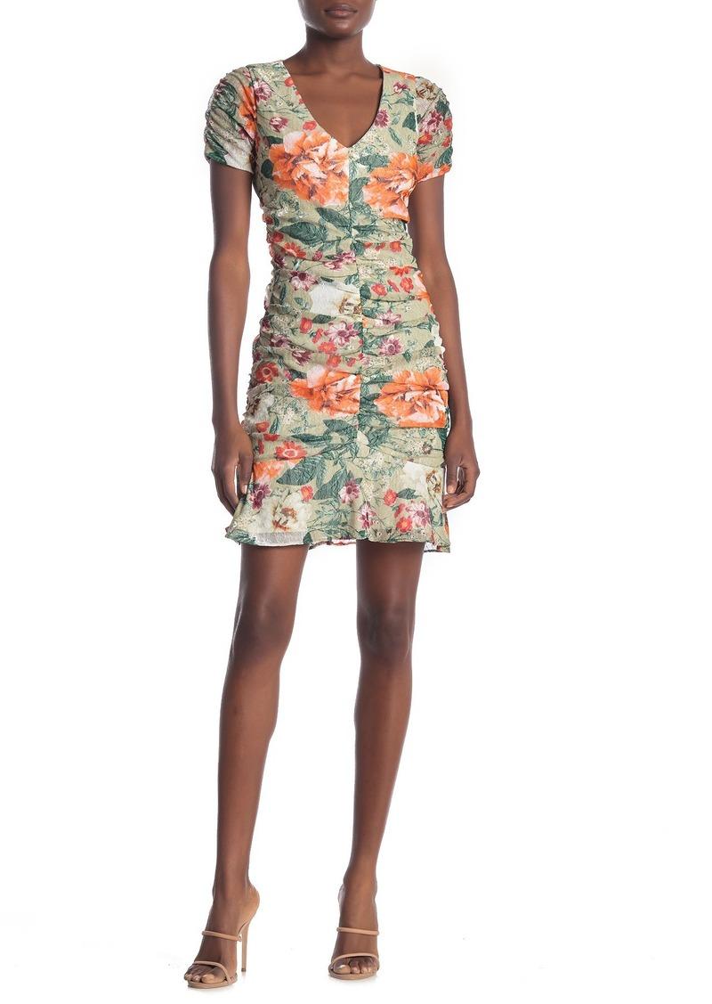 Kensie Floral Ruched Mesh Lace Mini Dress