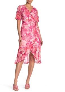 Kensie Floral Ruffled High/Low Midi Dress