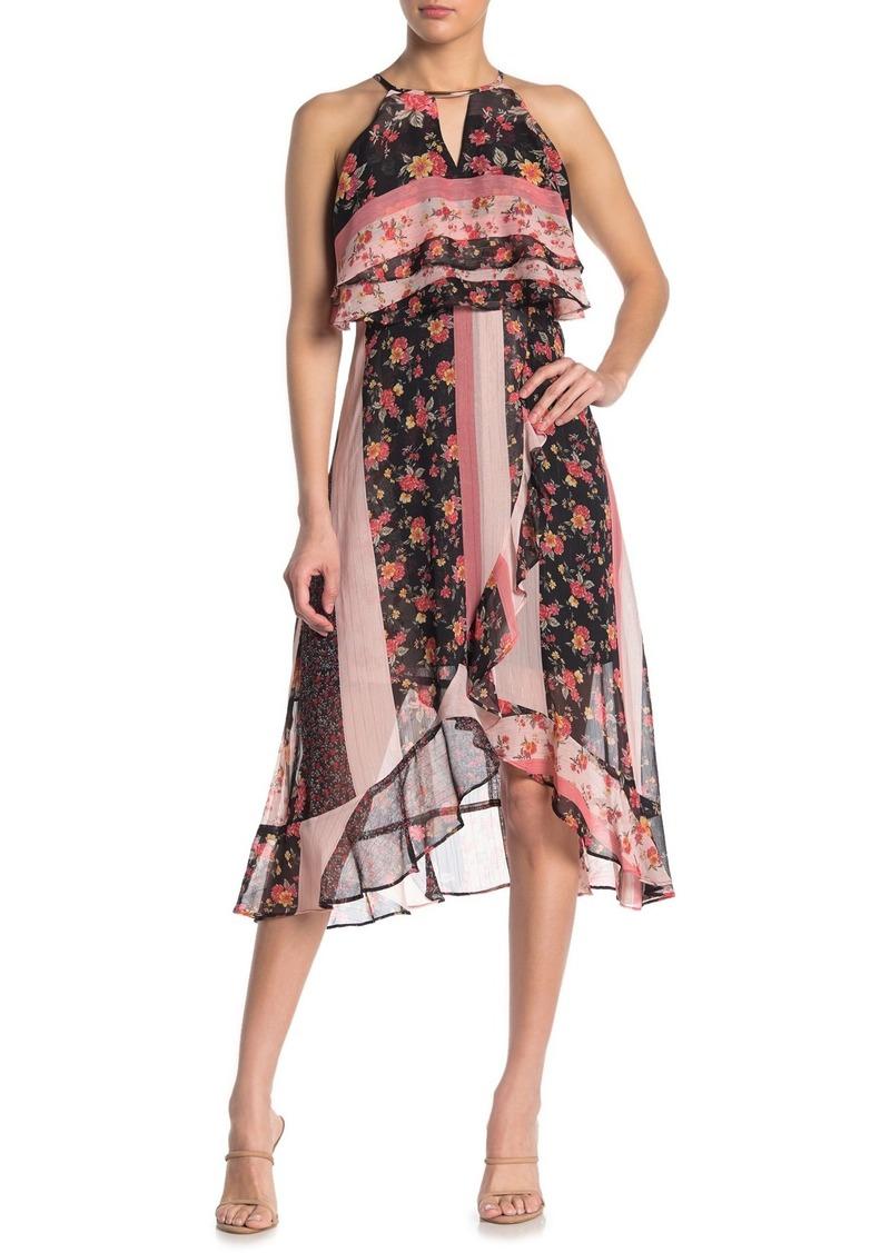 Kensie Floral Stripe Halter Keyhole High/Low Midi Dress