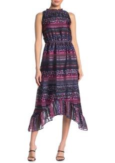 Kensie Floral Stripe Sleeveless Sharkbite Midi Dress