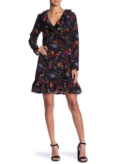 Kensie Floral Surplice Wrap Ruffle Dress