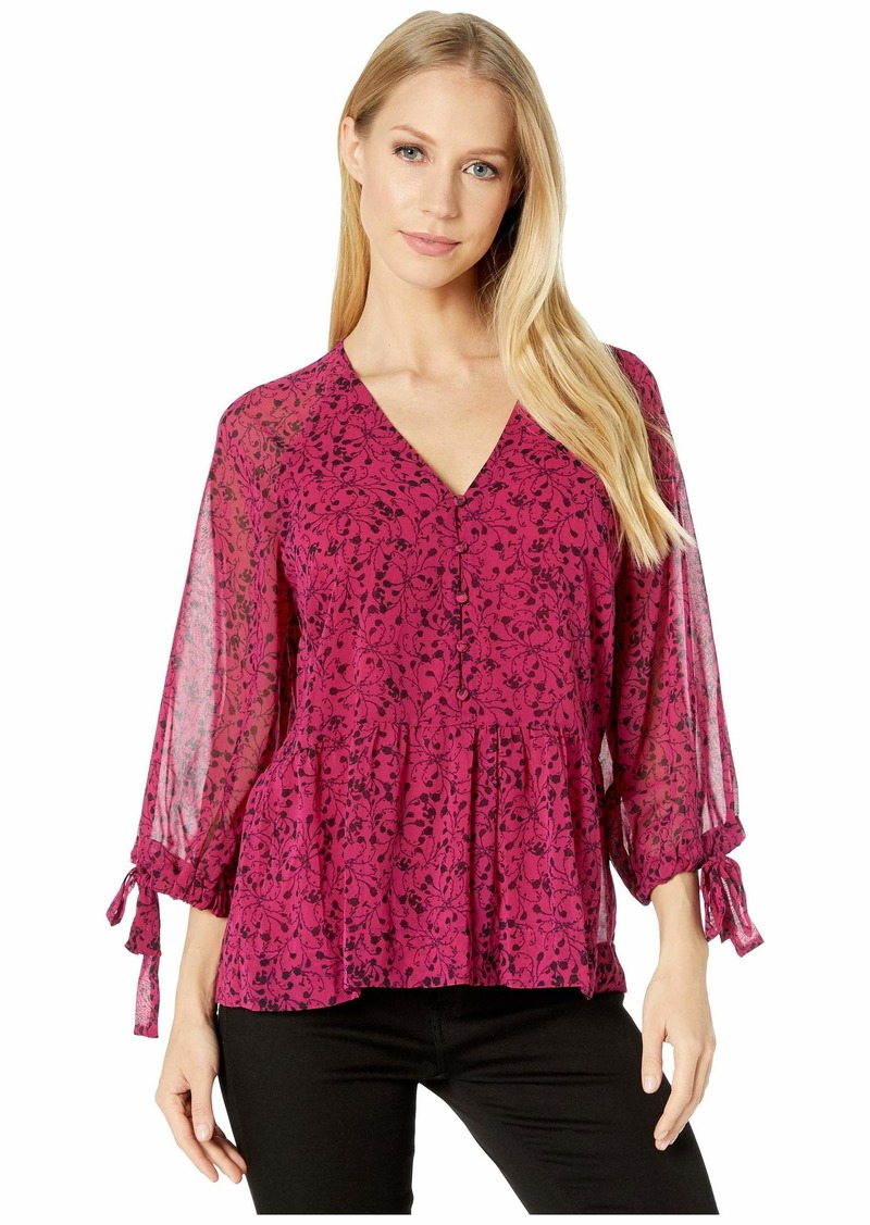 Kensie Floral Vines Button Front 3/4 Sleeve Blouse with Tie Detail at Sleeve KSDK4837