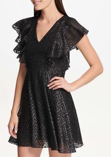 Kensie Flutter Sleeve Fit and Flare Dress