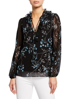 Kensie Frosted Blooms Tie-Neck Blouse
