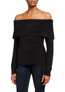 Kensie Fuzzy Yarn Off-the-Shoulder Sweater