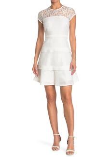Kensie Illusion Neck Tiered Ruffle Dress