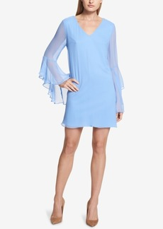kensie Bell-Sleeve Chiffon Shift Dress
