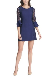 Kensie Bell-Sleeve Lace Sheath Dress