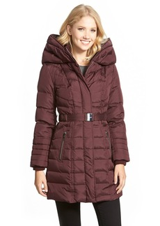 kensie Belted Hooded Down & Feather Fill Coat