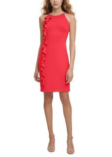 kensie Chain-Trim Ruffled Dress