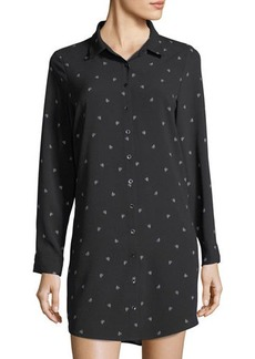 kensie Chiffon Cactus-Print Shirt Dress