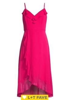 Kensie Chiffon Ruffle Midi Dress