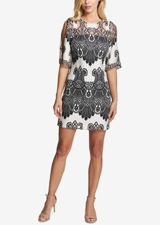 kensie Cold-Shoulder Lace Shift Dress