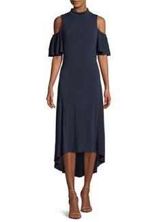 kensie Cold-Shoulder Mock-Neck Dress