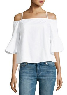 kensie Cold-Shoulder Ruffle-Sleeve Woven Shirt