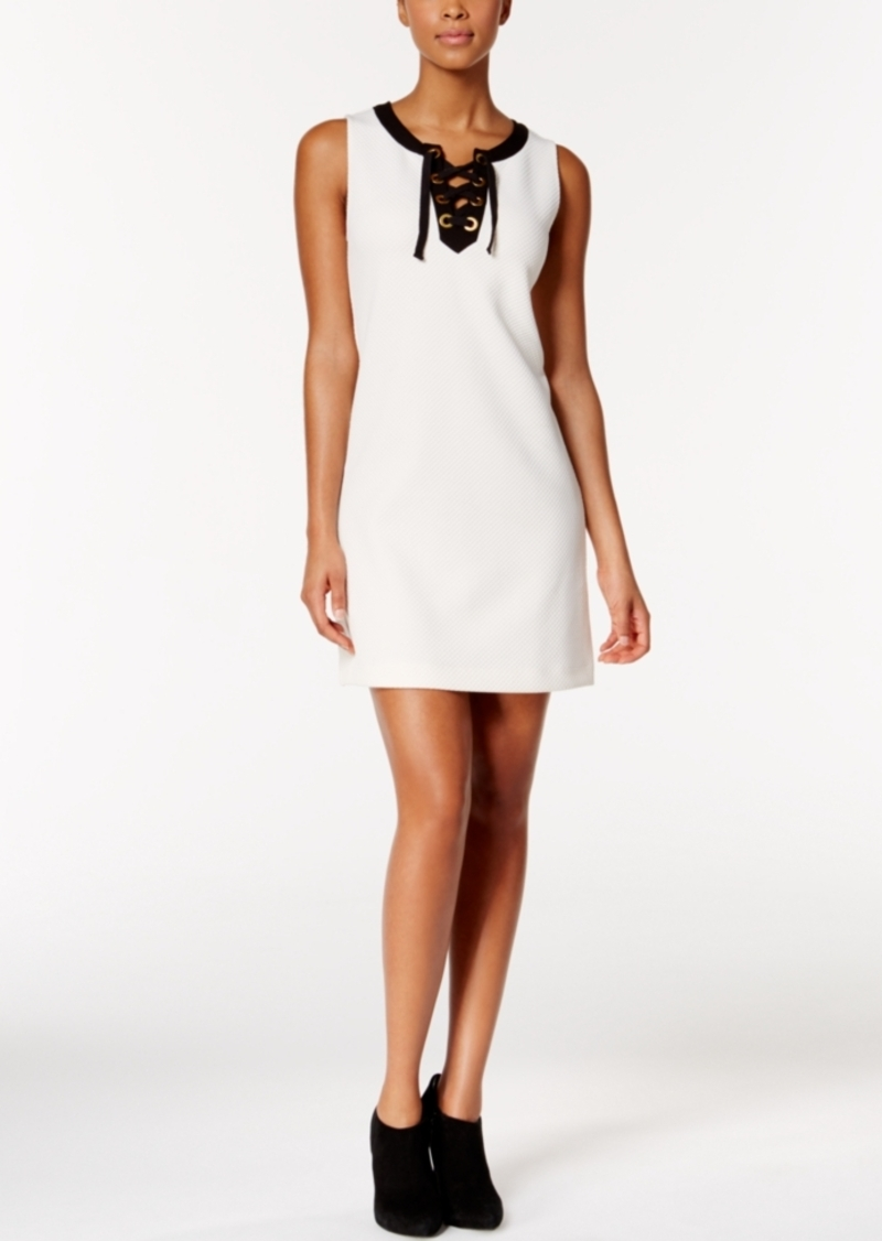 kensie Colorblocked Lace-Up Dress