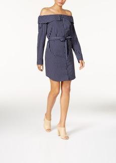 kensie Cotton Belted Off-The-Shoulder Shirtdress