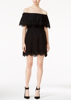 kensie Crochet-Trim Off-The-Shoulder Dress