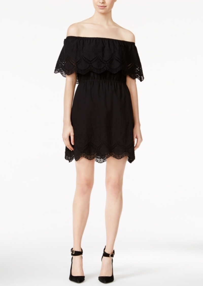 kensie Crochet-Trim Off-The-Shoulder Dress