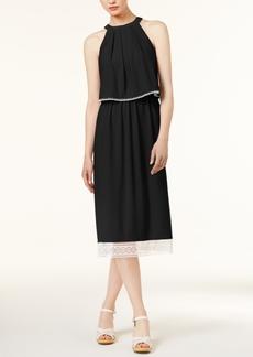 kensie Crochet-Trim Slit-Back Dress