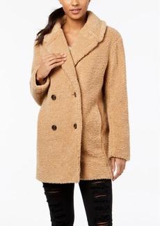 kensie Double-Breasted Faux-Fur Teddy Coat