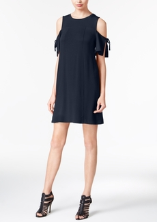 kensie Draped Cold-Shoulder Shift Dress