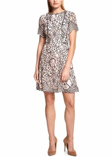 kensie Dress Women's Blush Black Two Tone LACE Dress
