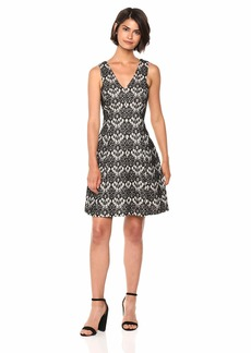 kensie Dress Women's Bonded Scallop LACE Dress