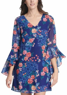 kensie Dress Women's Chiffon Floral Printed Shift Dress