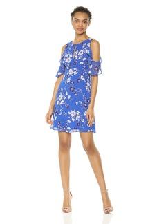 kensie Dress Women's Cold Shoulder Floral Printed Dress