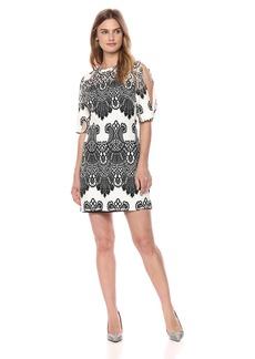 kensie Dress Women's Cold Shoulder Two Tone LACE Dress
