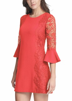 kensie Dress Women's Crepe Sheath Dress with Lace Sleeves