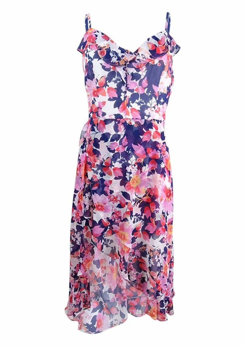 kensie Dress Women's Floral Printed Walk Through MIDI Dress