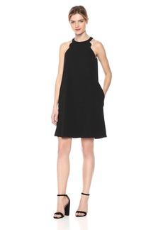 kensie Dress Women's High Neck Scuba Crepe Dress with Pockets