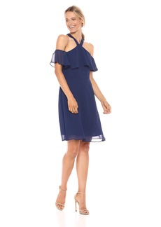 kensie Dress Women's Off The Shoulder POP Over Halter Dress