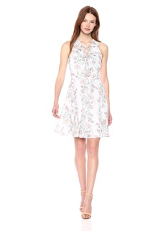 kensie Dress Women's Printed LACE UP Detail Dress