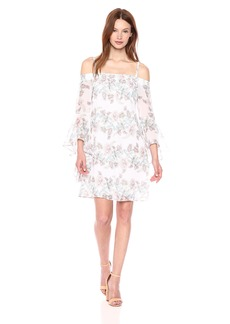 kensie Dress Women's Printed Off The Shoulder Dress