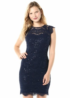 kensie Dress Women's Sequin Lace Sheath Dress with Illusion Neck Line