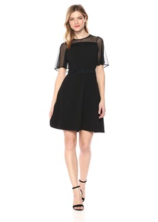 kensie Dress Women's Short Dress with Mesh Sleeves