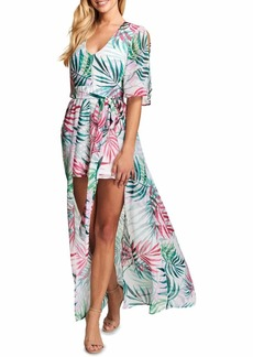kensie Dress Women's Tropical Print Walk Through