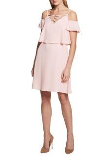 Kensie Dresses Cold-Shoulder Blouson Dress